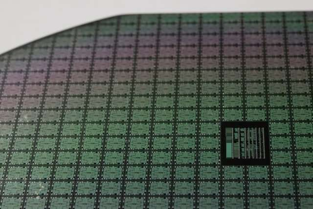 Image of silicon wafer with etched circuitry