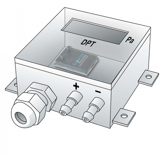 DPT system with integrated sensor